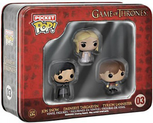 Funko Game of Thrones Pocket POP! TV Jon Snow, Daenerys Targaryen & Tyrion Lannister Vinyl Mini Figure Tin 3-Pack #03