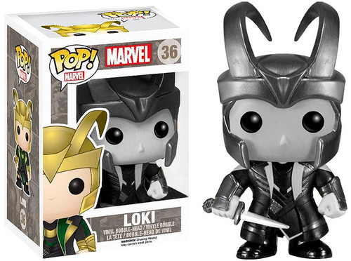 Funko Thor The Dark World POP! Marvel Loki Exclusive Vinyl Figure #36 [Helmeted Black & White]