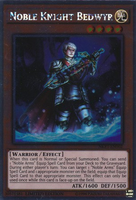 YuGiOh Noble Knights of the Round Table Platinum Rare Noble Knight Bedwyr NKRT-EN002