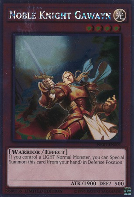 YuGiOh Noble Knights of the Round Table Platinum Rare Noble Knight Gawayn NKRT-EN004