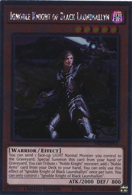YuGiOh Noble Knights of the Round Table Platinum Rare Ignoble Knight of Black Laundsallyn NKRT-EN005