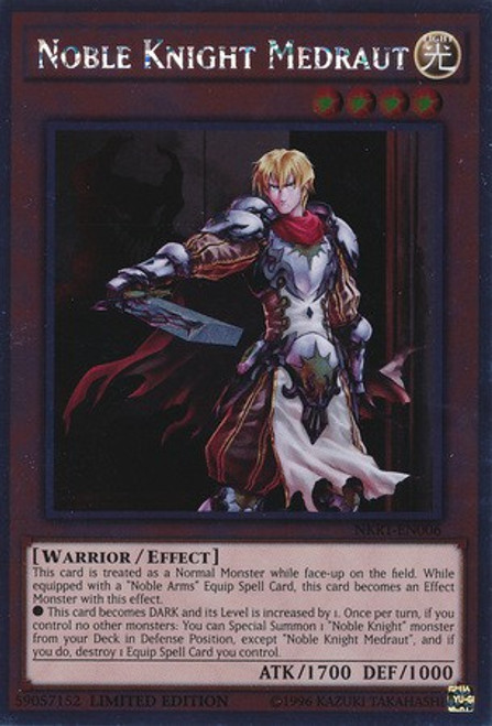 YuGiOh Noble Knights of the Round Table Platinum Rare Noble Knight Medraut NKRT-EN006