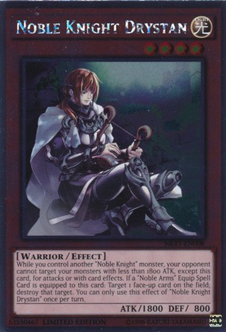 YuGiOh Noble Knights of the Round Table Platinum Rare Noble Knight Drystan NKRT-EN008