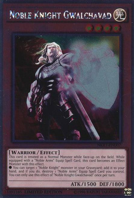 YuGiOh Noble Knights of the Round Table Platinum Rare Noble Knight Gwalchavad NKRT-EN007