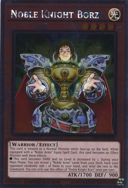 YuGiOh Noble Knights of the Round Table Platinum Rare Noble Knight Borz NKRT-EN009