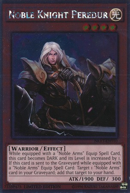 YuGiOh Noble Knights of the Round Table Platinum Rare Noble Knight Peredur NKRT-EN010
