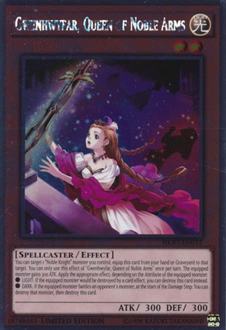 YuGiOh Noble Knights of the Round Table Platinum Rare Gwenhwyfar, Queen of Noble Arms NKRT-EN012