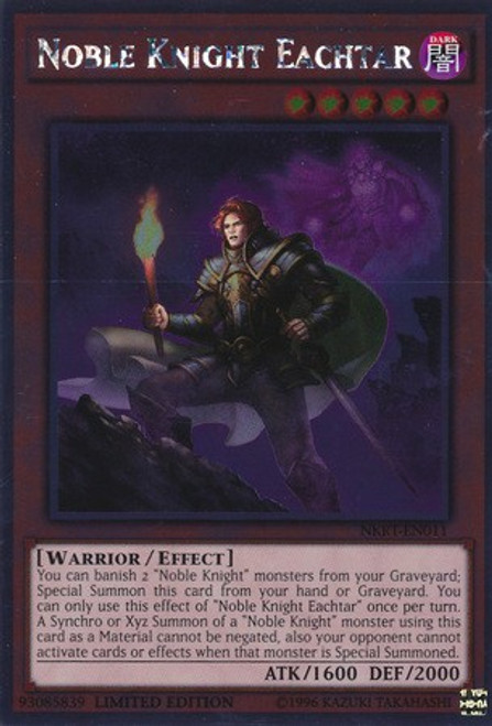 YuGiOh Noble Knights of the Round Table Platinum Rare Noble Knight Eachtar NKRT-EN011