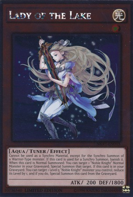 YuGiOh Noble Knights of the Round Table Platinum Rare Lady of the Lake NKRT-EN013
