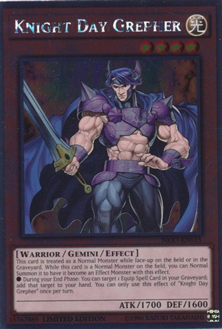 YuGiOh Noble Knights of the Round Table Platinum Rare Knight Day Grepher NKRT-EN015