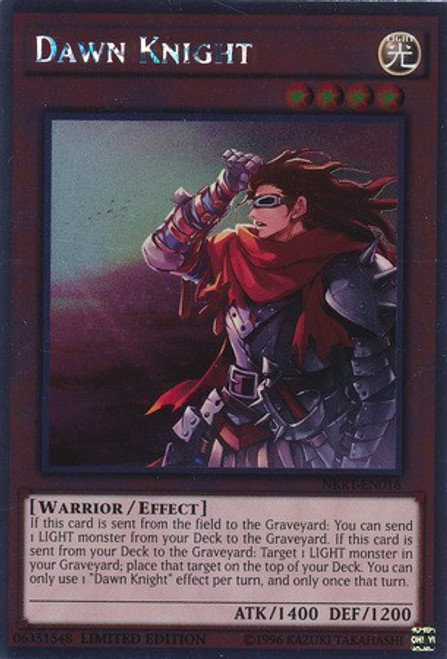 YuGiOh Noble Knights of the Round Table Platinum Rare Dawn Knight NKRT-EN016
