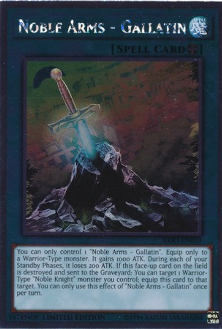 YuGiOh Noble Knights of the Round Table Platinum Rare Noble Arms - Gallatin NKRT-EN019