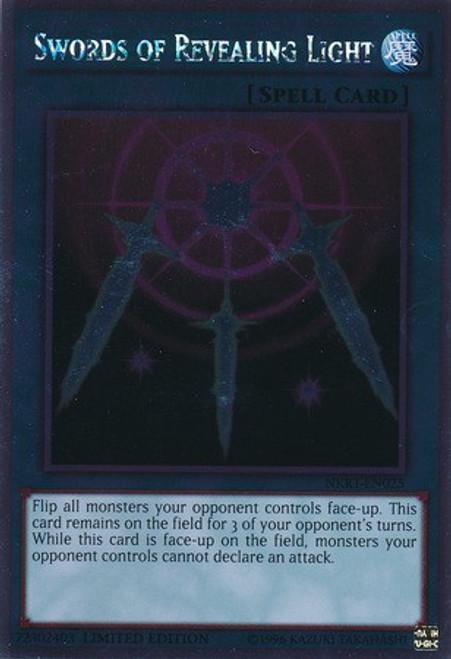 YuGiOh Noble Knights of the Round Table Platinum Rare Swords of Revealing Light NKRT-EN025