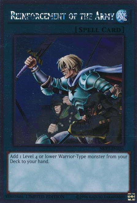 YuGiOh Noble Knights of the Round Table Platinum Rare Reinforcement of the Army NKRT-EN026