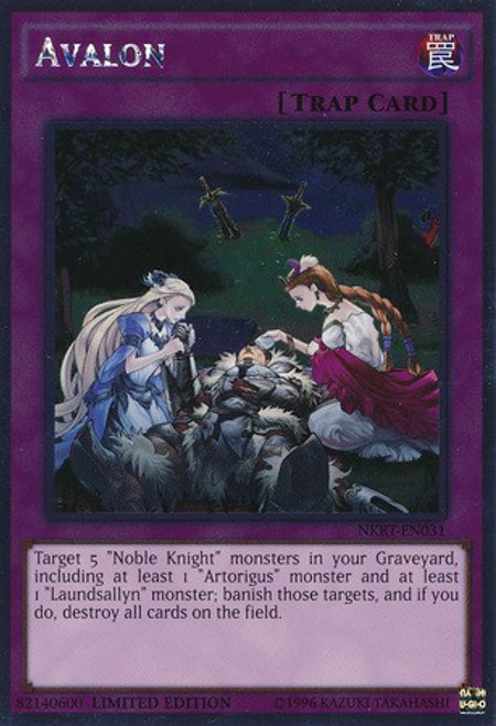 YuGiOh Noble Knights of the Round Table Platinum Rare Avalon NKRT-EN031
