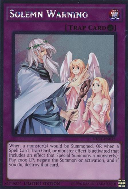 YuGiOh Noble Knights of the Round Table Platinum Rare Solemn Warning NKRT-EN035