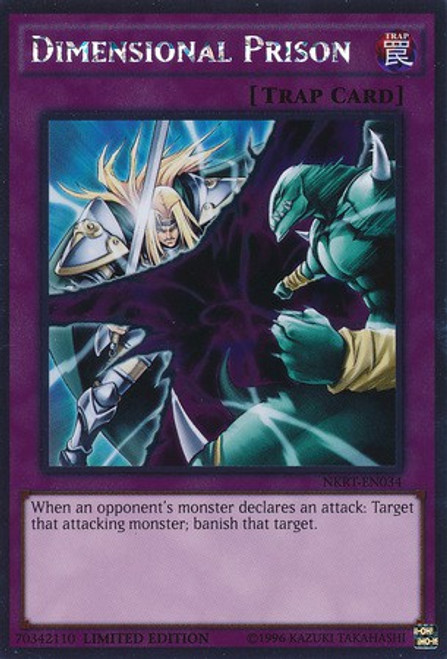 YuGiOh Noble Knights of the Round Table Platinum Rare Dimensional Prison NKRT-EN034
