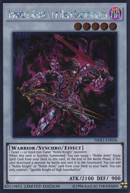 YuGiOh Noble Knights of the Round Table Platinum Rare Ignoble Knight of High Laundsallyn NKRT-EN036
