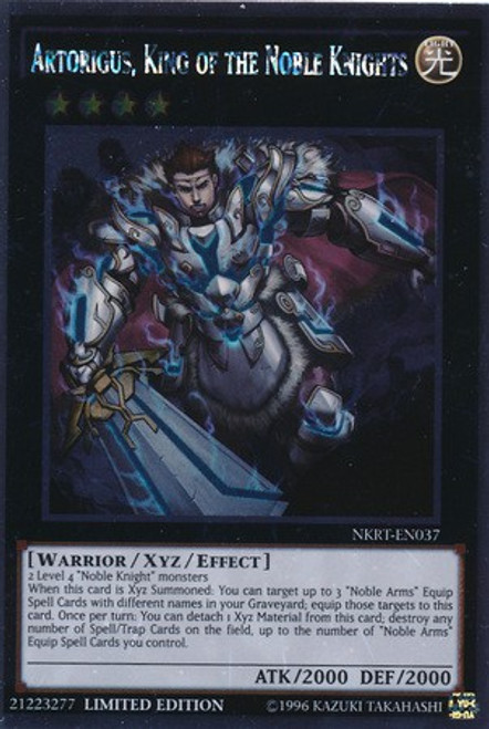 YuGiOh Noble Knights of the Round Table Platinum Rare Artorigus, King of the Noble Knights NKRT-EN037