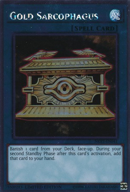 YuGiOh Noble Knights of the Round Table Platinum Rare Gold Sarcophagus NKRT-EN041