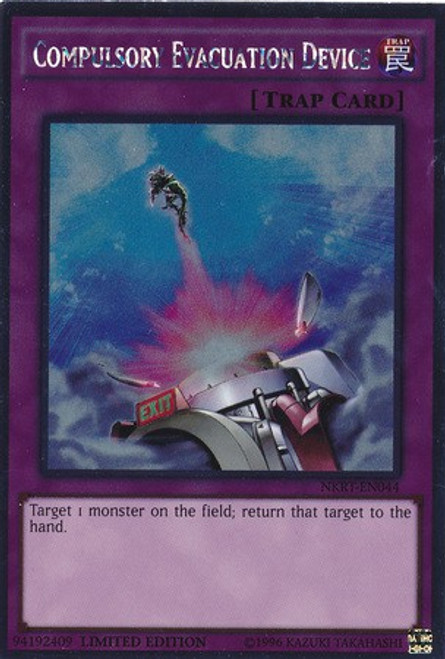 YuGiOh Noble Knights of the Round Table Platinum Rare Compulsory Evacuation Device NKRT-EN044