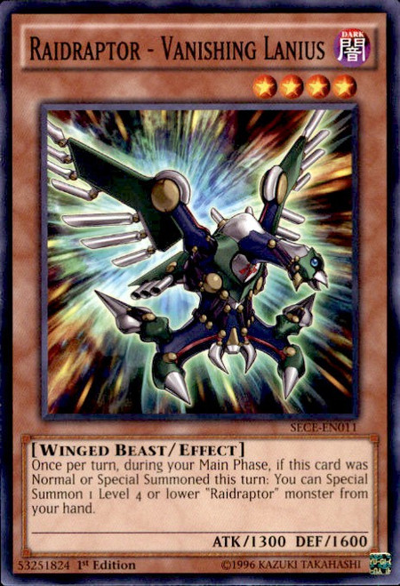 YuGiOh Secrets of Eternity Common Raidraptor - Vanishing Lanius SECE-EN011