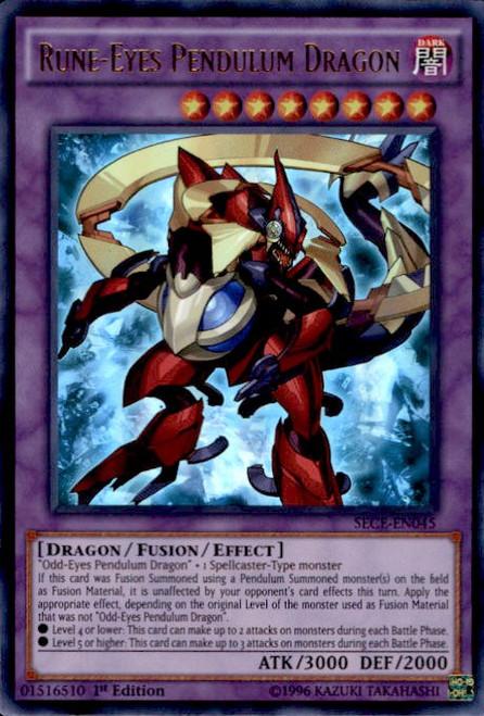 YuGiOh Secrets of Eternity Ultra Rare Rune-Eyes Pendulum Dragon SECE-EN045