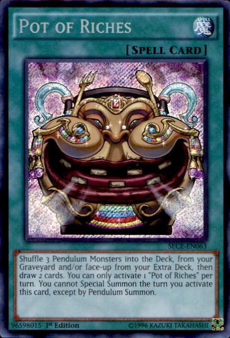 YuGiOh Secrets of Eternity Secret Rare Pot of Riches SECE-EN063