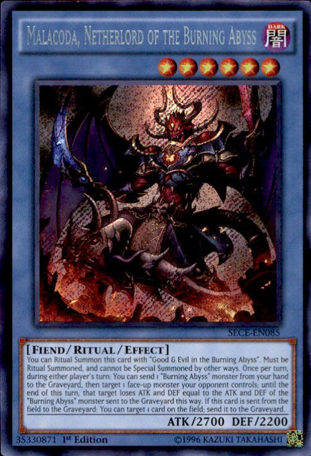 YuGiOh Secrets of Eternity Secret Rare Malacoda, Netherlord of the Burning Abyss SECE-EN085