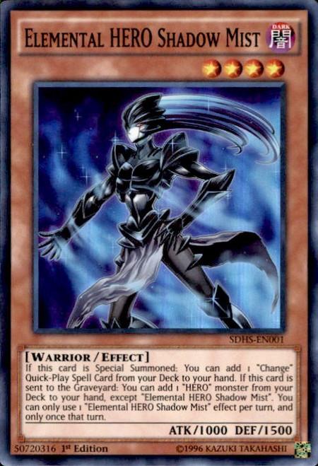 YuGiOh HERO Strike Structure Deck Super Rare Elemental HERO Shadow Mist SDHS-EN001