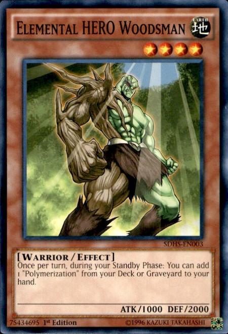 YuGiOh HERO Strike Structure Deck Common Elemental HERO Woodsman SDHS-EN003