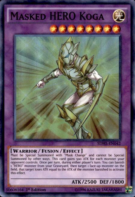YuGiOh HERO Strike Structure Deck Super Rare Masked HERO Koga SDHS-EN042