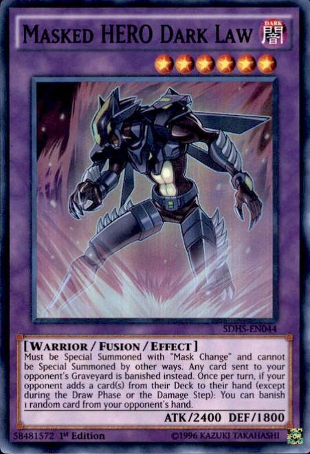 YuGiOh HERO Strike Structure Deck Super Rare Masked HERO Dark Law SDHS-EN044