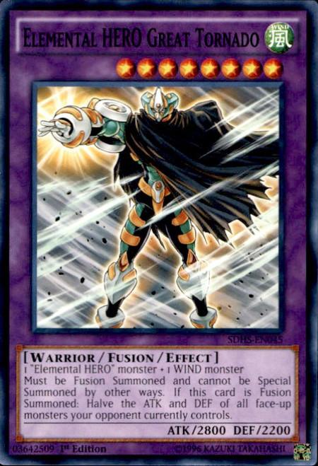 YuGiOh HERO Strike Structure Deck Common Elemental HERO Great Tornado SDHS-EN045