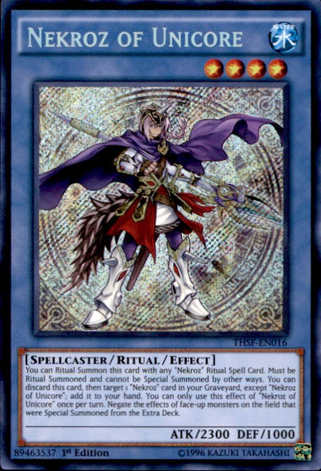 YuGiOh The Secret Forces Secret Rare Nekroz of Unicore THSF-EN016