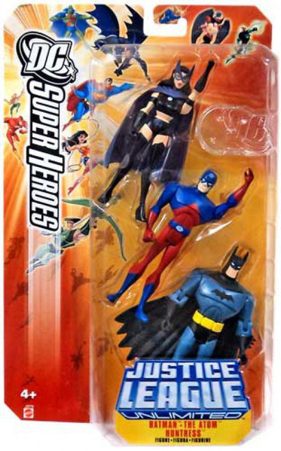 DC Justice League Unlimited Super Heroes Batman, The Atom & Huntress Action Figures