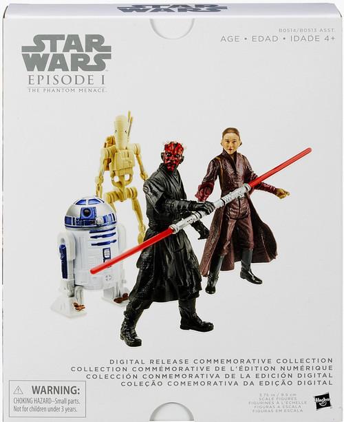 Star Wars Phantom Menace Digital Collection Series 1 R2-D2, Darth Maul, Padme Amidala & Battle Droid Action Figure 4-Pack