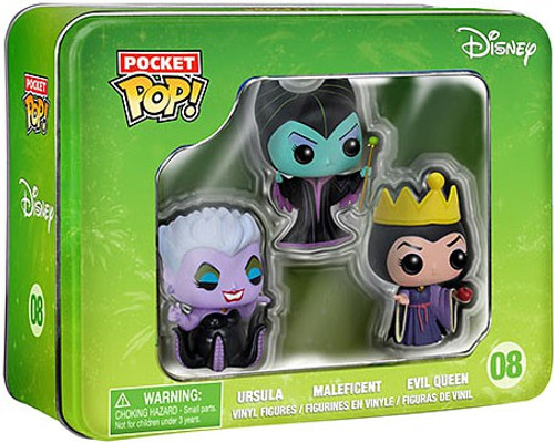 Funko POP! Disney Ursula, Maleficent & Evil Queen Vinyl Mini Figure Tin 3-Pack #08 [Villains]