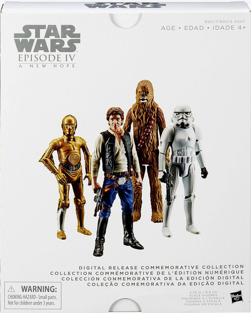 Star Wars A New Hope Digital Collection Series 1 Han Solo, Chewbacca, C-3PO & Stormtrooper Action Figure 4-Pack