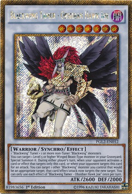 YuGiOh Premium Gold: Return of the Bling Gold Secret Rare Blackwing Tamer - Obsidian Hawk Joe PGL2-EN012