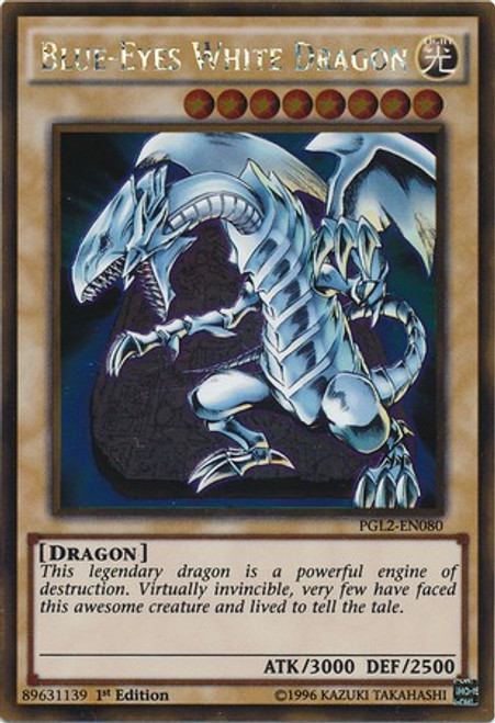YuGiOh Premium Gold: Return of the Bling Gold Rare Blue-Eyes White Dragon PGL2-EN080