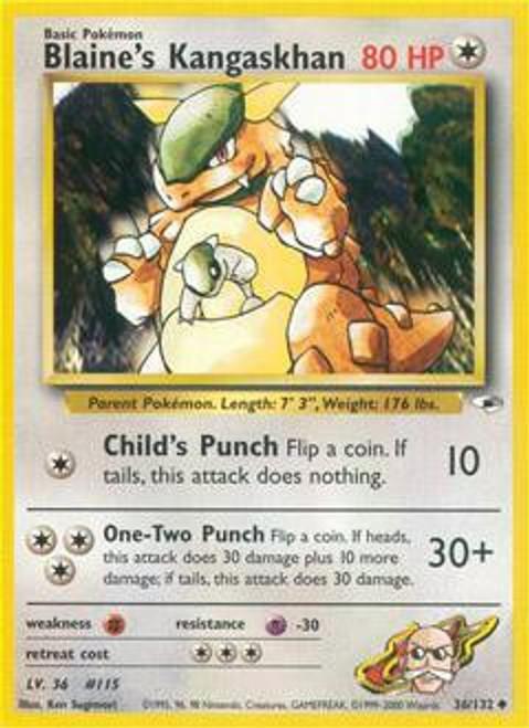 Pokemon Gym Heroes Uncommon Blaine's Kangaskhan #36