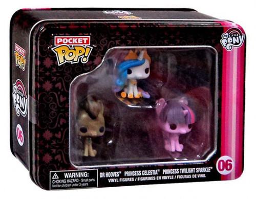 Funko Pocket POP! My Little Pony Dr. Hooves, Princess Celestia & Princess Twilight Sparkle Vinyl Mini Figure Tin 3-Pack