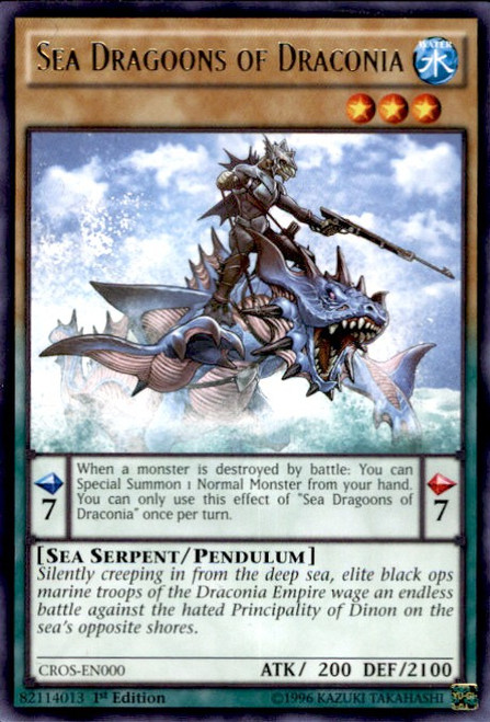 YuGiOh Crossed Souls Rare Sea Dragoons of Draconia CROS-EN000