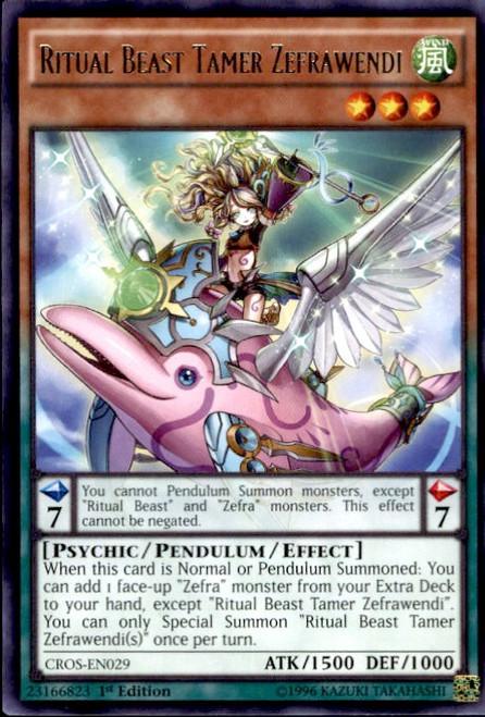 YuGiOh Crossed Souls Rare Ritual Beast Tamer Zefrawendi CROS-EN029
