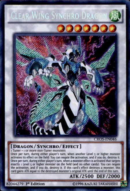YuGiOh Crossed Souls Secret Rare Clear Wing Synchro Dragon CROS-EN046