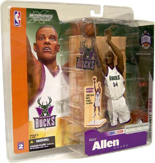 McFarlane Toys NBA Milwaukee Bucks Sports Picks Series 2 Ray Allen Action Figure [White Jersey]