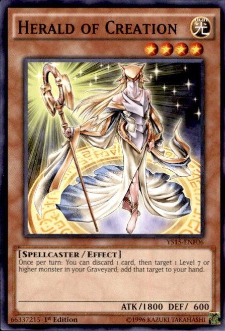 YuGiOh 2015 Starter Deck Saber Force Common Herald of Creation YS15-ENF06