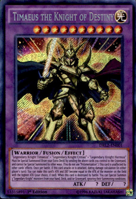 YuGiOh Dragons of Legend 2 Secret Rare Timaeus the Knight of Destiny DRL2-EN001