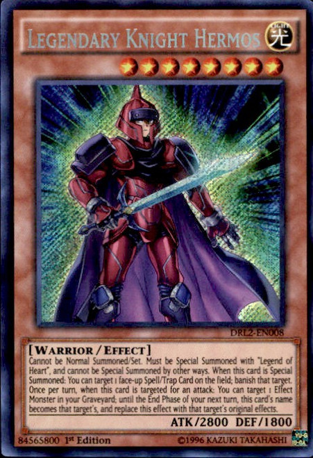 YuGiOh Dragons of Legend 2 Secret Rare Legendary Knight Hermos DRL2-EN008